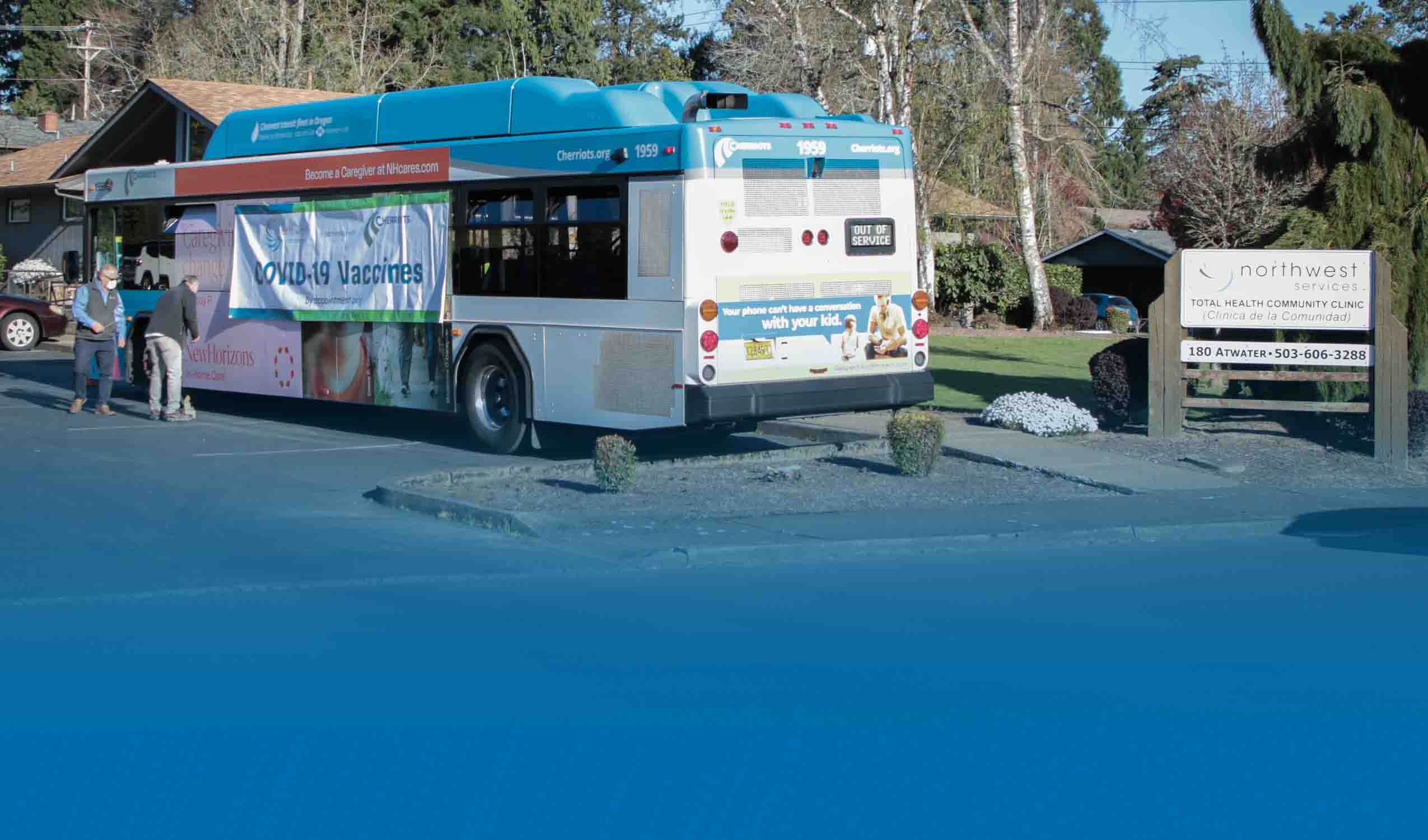 New Local Bus at Vaccine Clinic for News