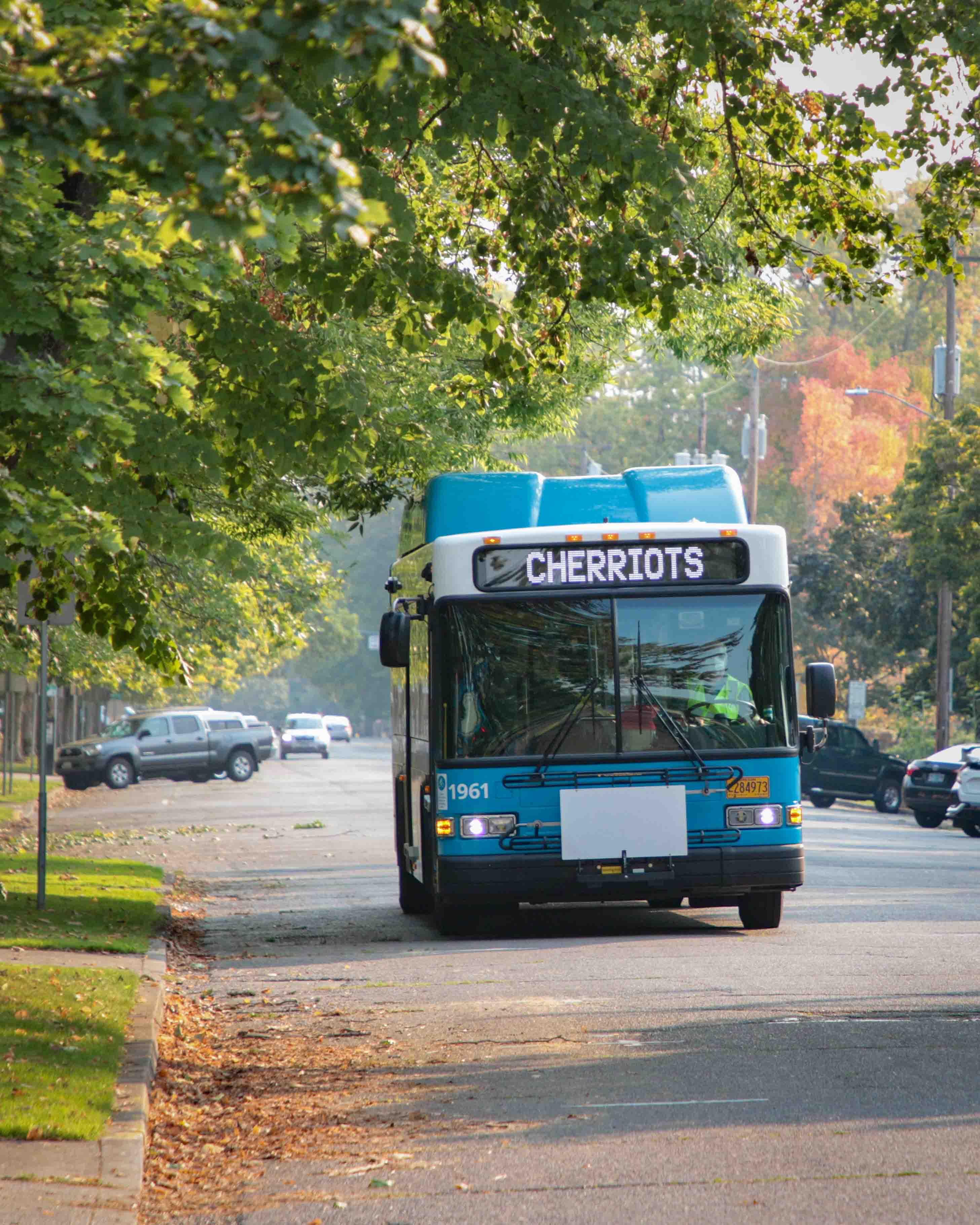 Local bus on autumn street
