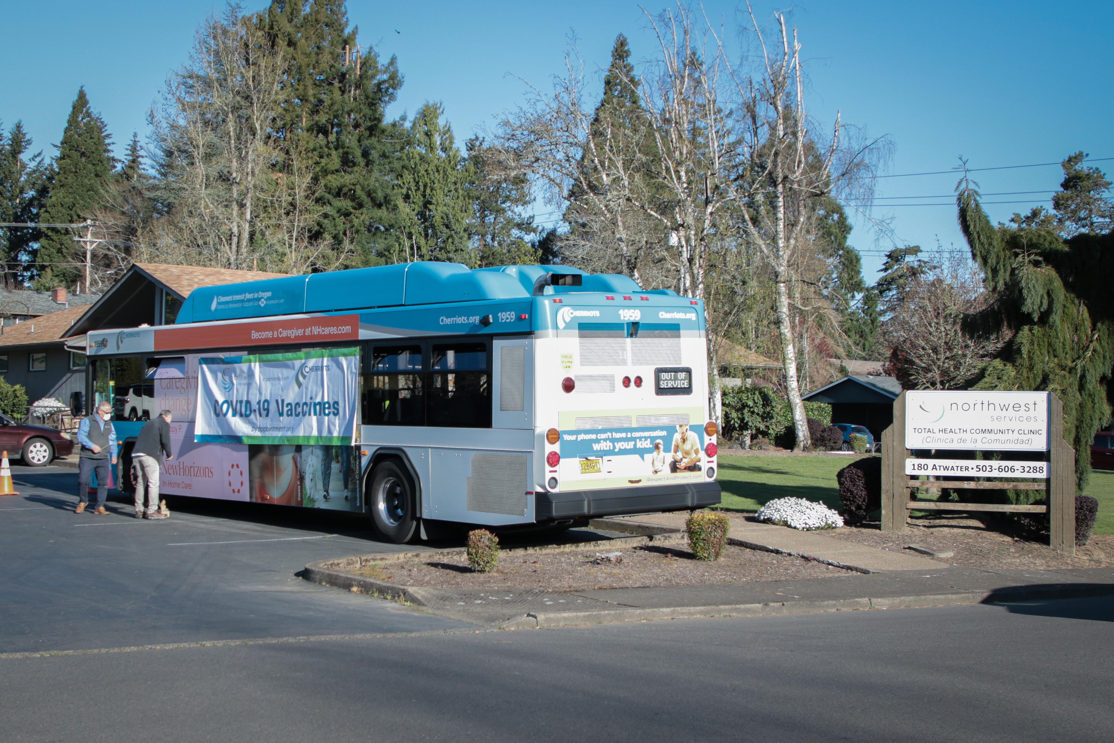 Local Bus at Vaccine Clinic